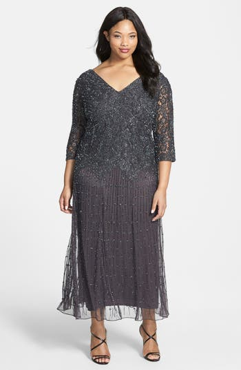 1920s Style Dresses, Flapper Dresses Plus Size Womens Pisarro Nights Beaded V-Neck Lace Illusion Gown Size 24W - Grey $238.00 AT vintagedancer.com