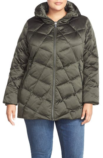 Plus Size Kristen Blake Hooded Diamond Quilted A-Line Down Coat