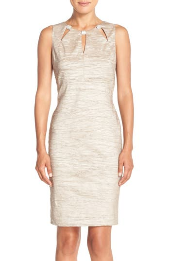 Eliza J Embellished Cutout Taffeta Sheath Dress