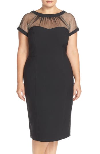 Plus Size Vintage Dresses, Plus Size Retro Dresses Plus Size Womens Maggy London Illusion Yoke Crepe Sheath Dress Size 16W - Black $158.00 AT vintagedancer.com