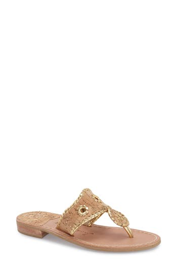 Women's Jack Rogers Whipstitched Flip Flop, Size 7.5 N - Metallic
