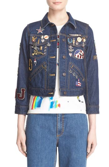 Women's Marc Jacobs Embroidered Patch Denim Jacket