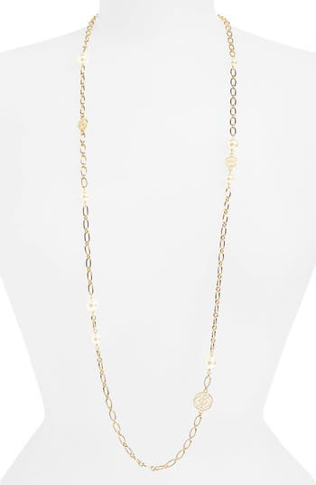 Women's Tory Burch Rosary Long Imitation Pearl Link Necklace