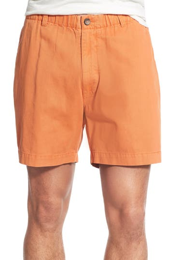 Men's Vintage 1946 'Snappers' Vintage Washed Elastic Waistband Shorts, Size Small - Orange