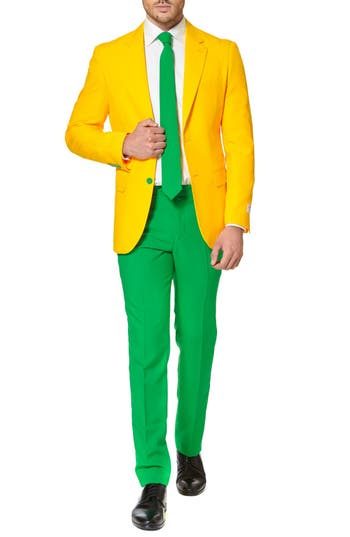 1960s Style Mens Suits- Skinny Suits, Mod Suits, Sport Coats Mens Opposuits Green  Gold Trim Fit Suit With Tie $99.99 AT vintagedancer.com