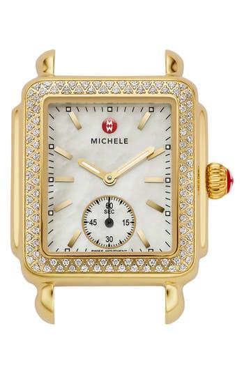 Women's Michele Deco 16 Diamond Gold Plated Watch Head, 29Mm X 31Mm