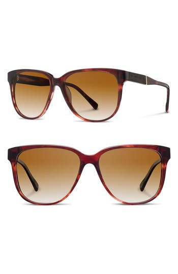 Women's Shwood 'Mckenzie' 57Mm Polarized Sunglasses - Sangria/ Ebony/ Brown Polar