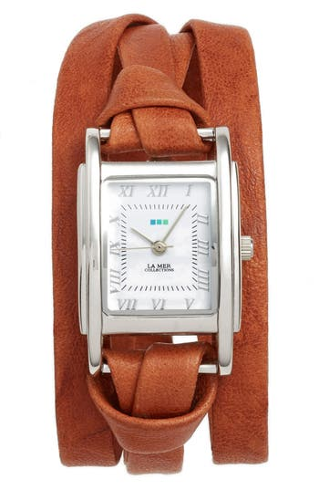 Women's La Mer Collections 'Milwood' Leather Wrap Watch, 35Mm