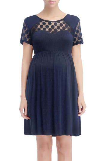 Kimi And Kai Claire Maternity Skater Dress, Blue