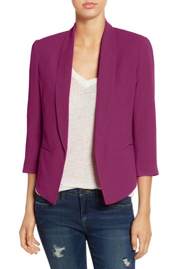 Women's Mural 'Curve' Open Front Shawl Collar Blazer, Size Small - Pink