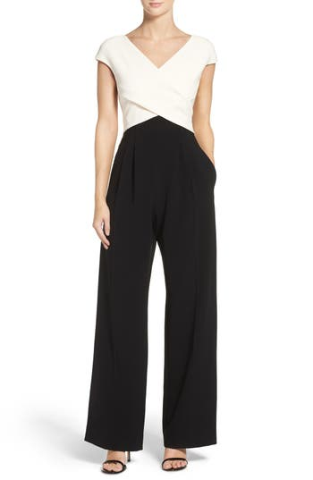 f1bfc26ec8f8 Eliza J Cap Sleeve Jumpsuit In Black  Ivory