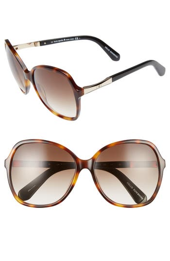 Women's Kate Spade New York Jolyn 58Mm Sunglasses - Dark Havana/ Gold