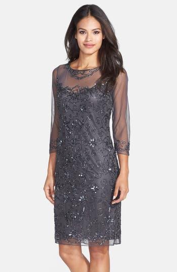 1920s Style Dresses, Flapper Dresses Womens Pisarro Nights Beaded Mesh Sheath Dress Size 12 - Grey $168.00 AT vintagedancer.com