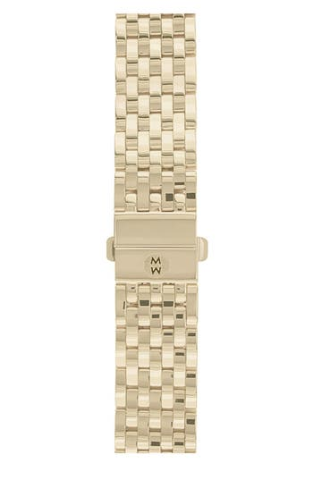 Women's Michele Deco 18Mm Gold Plated Bracelet Watchband