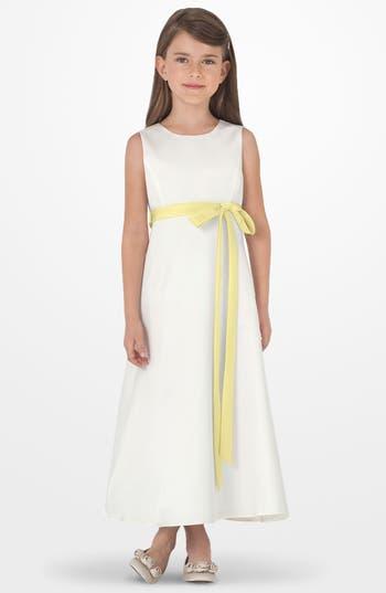 Girl's Us Angels Sleeveless Satin Dress, Size 7 - Yellow
