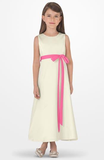 Toddler Girl's Us Angels Sleeveless Satin Dress, Size 2T - Pink