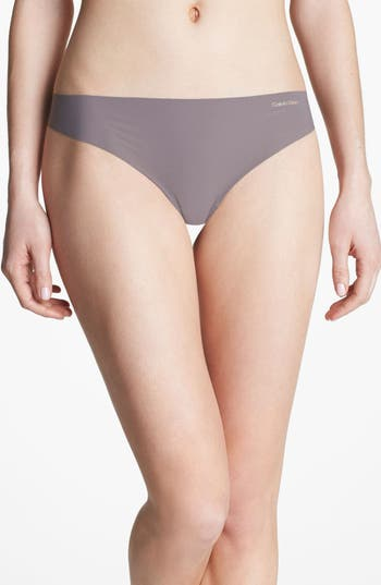 Women's Calvin Klein 'Invisibles' Thong, Size Small - Brown