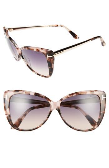 Tom Ford Reveka 5m Gradient Cat Eye Sunglasess - Pink Havana/ Rose Gold/ Smoke