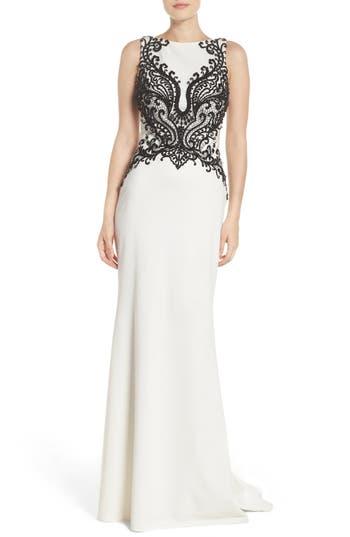 1950s Prom Dresses & Party Dresses Womens La Femme Embellished Column Gown Size 12 - Ivory $538.00 AT vintagedancer.com