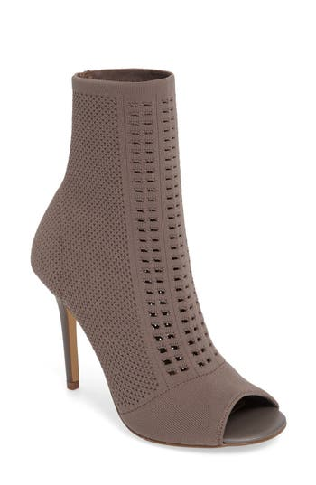 Charles By Charles David Rebellious Knit Peep Toe Bootie- Beige