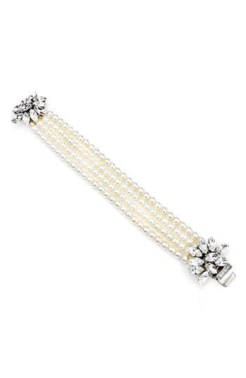 Women's Ben-Amun Cascading Crystals Faux Pearl Bracelet