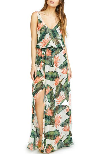 Women's Show Me Your Mumu Kendall Soft V-Back A-Line Gown, Size Small - Green