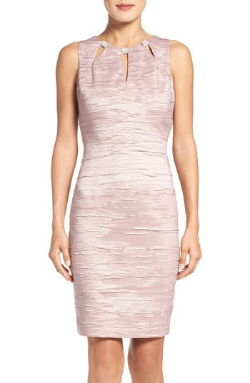 Eliza J Embellished Cutout Taffeta Sheath Dress, Pink