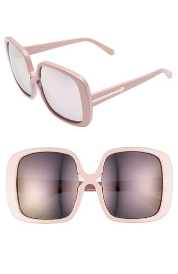 Women's Karen Walker Marques 55Mm Square Sunglasses - Crystal Clear/ Silver