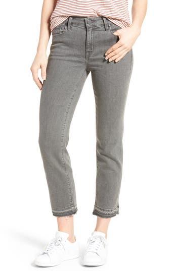Frayed Release Hem Crop Straight Leg Jeans