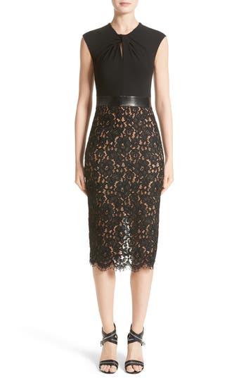 Women's Michael Kors Leather Trim Jersey & Lace Sheath Dress