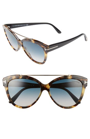 Tom Ford Livia 5m Gradient Butterfly Sunglasses - Tortoise/ Rose Gold/ Turquoise