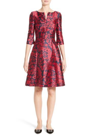 Women's Oscar De La Renta Print Mikado Fit & Flare Dress