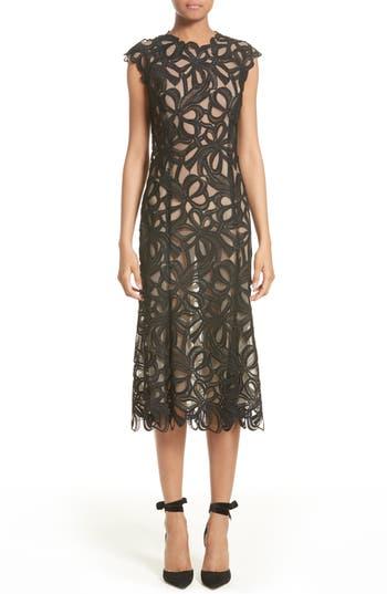 Women's Monique Lhuillier Ribbon Guipure Lace Midi Dress