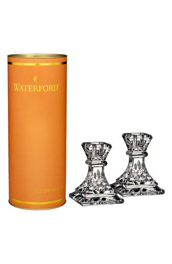 Waterford Giftology Lismore Set Of 2 Lead Crystal Candlesticks, Size One Size - White