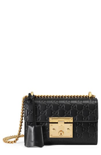 Gucci Small Padlock Signature Leather Shoulder Bag - Black