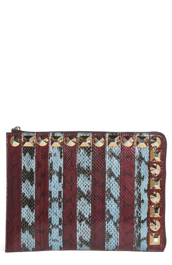 Fendi Genuine Snakeskin & Leather Clutch -