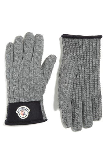 Men's Moncler Cable Knit Wool & Cashmere Gloves, Size X-Large - Grey