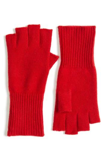 Women's Halogen Cashmere Fingerless Gloves, Size One Size - Red