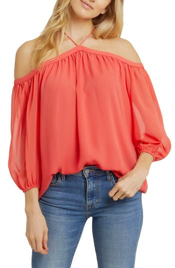 Women's 1.state Off The Shoulder Sheer Chiffon Blouse, Size X-Small - Coral
