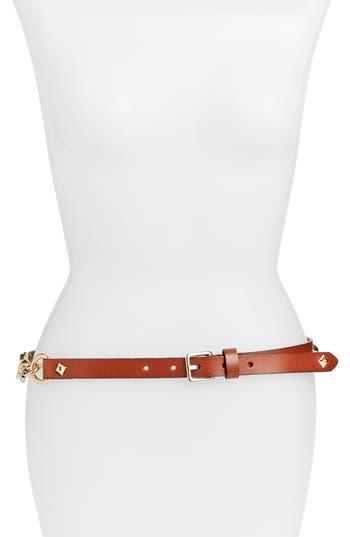 Rebecca Minkoff Dog Clip Studded Skinny Belt, Luggage