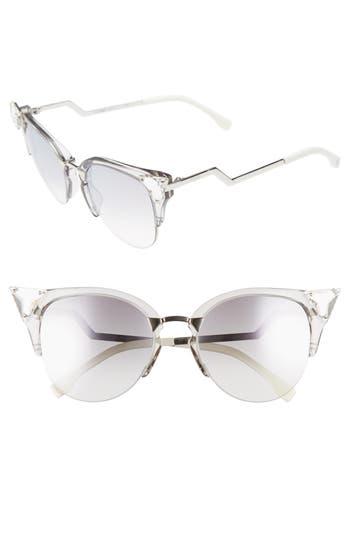 Women's Fendi 52Mm Crystal Tip Cat Eye Sunglasses - Yellow/ Gold