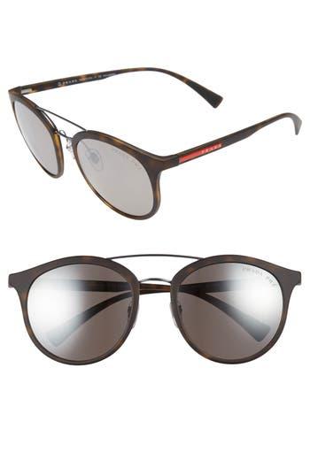 Men's Prada 54Mm Polarized Round Sunglasses - Havana
