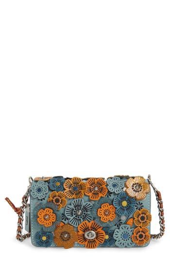 Coach 1941 Dinky Tea Rose Appliqué Leather Crossbody Bag - Blue