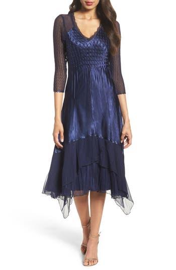 1930s Style Fashion Dresses Petite Womens Komarov Charmeuse  Chiffon A-Line Dress Size Small P - Blue $298.00 AT vintagedancer.com