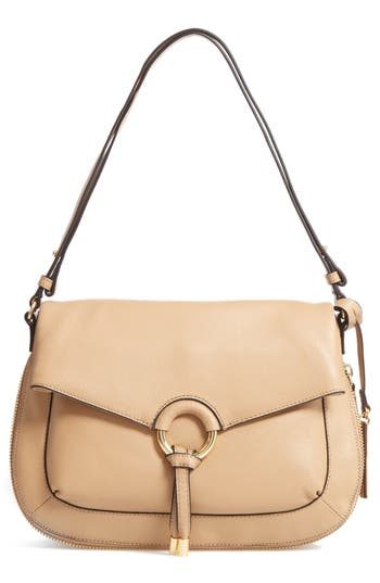 Vince Camuto Adina Leather Shoulder/crossbody Bag - Beige