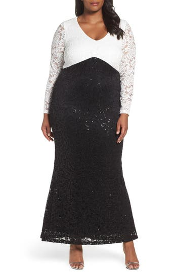 Vintage Evening Dresses and Formal Evening Gowns Plus Size Womens Marina Sequin Lace Mermaid Gown Size 22W - Black $159.00 AT vintagedancer.com