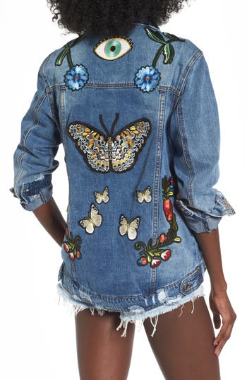 Women's Afrm Eloise Embroidered Denim Jacket, Size Small - Blue