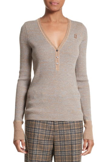 Marc Jacobs Ribbed V-neck Wool Sweater In Taupe Multi