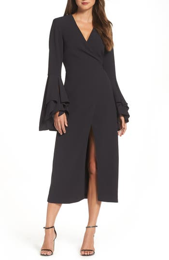 Women's C/meo Collective Still Standing Wrap Dress, Size X-Small - Black