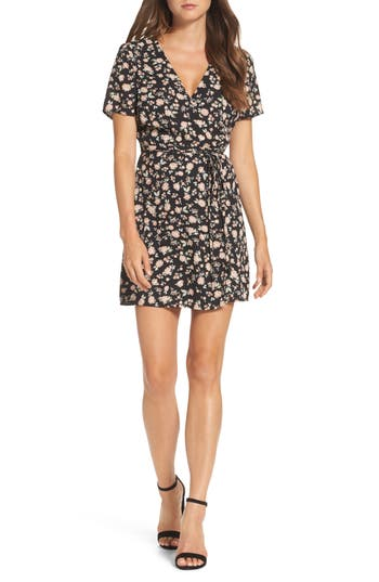 Women's Bardot Floral Wrap Dress, Size X-Small - Black